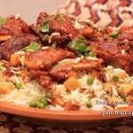 أطباق غداء اليوم مكونة من الطبق الرئيسي وهو لحم الفرن بخلطة الأرز والخضار المشكلة