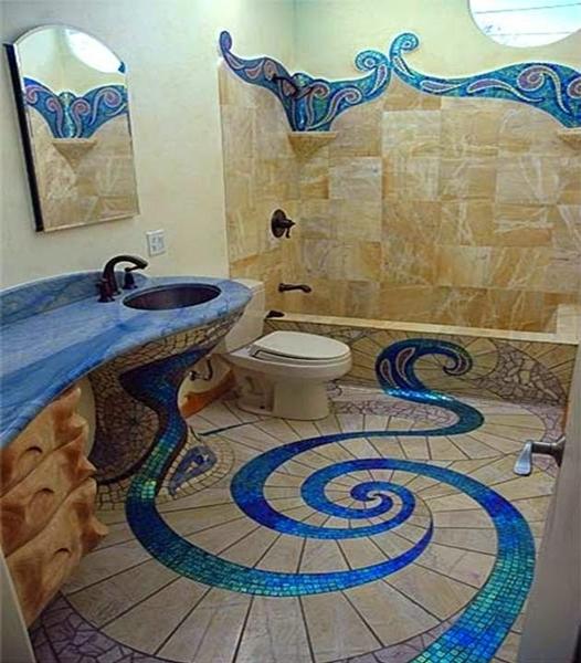 2322 ديكور حمام خيالي باللون الأزرق الأنيق