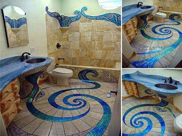 8147 ديكور حمام خيالي باللون الأزرق الأنيق