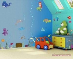 حوائط غرف اطفال2016 1 450x366 300x244 غرف نوم اطفال 2016 بديكورات جميلة  بالوان طفولية وبلمسه جذابة