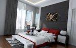 فن إستخدام  اللون الرصاصي الغامق مع الأحمر للغرفه النوم