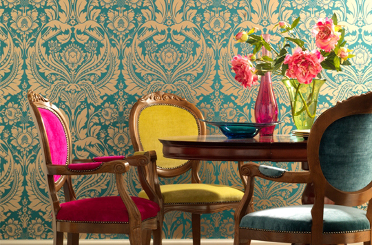 design   interior decor   eclectic decor   bohemian decor and design dining room design   antique chairs   colorful upholstery   aqua damaskwallpaper طاولات طعام تحفه بجد