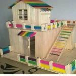 ابداعات بعصا الاستيك لعمل منزل مصغره جميل جدا