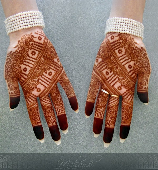 Latest Mehndi Designs 2013 By Amelia 0014 نقوش حناء عرايس خليجية 2014   نقوش حناء ناعمه