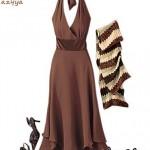 ملابس موضة للبنات ـ أزياء لصبايا باللون البني